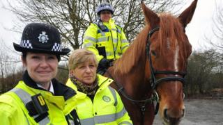 Insp Julie Mead, horseback volunteer Hilda Miller and PCSO Natasha Fountain on Cody