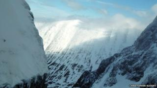 The view out of Comb Gully towards Carn Mor Dearg