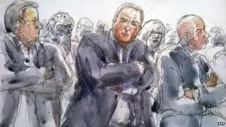 "A court sketch shows (from L) defendants French businessman Fabrice Paszkowski, former French IMF chief Dominique Strauss-Kahn and ex-director of the BTP Eiffage construction group subsidiary David Roquet during their trial in the so-called ""Carlton Case"" at the courthouse of Lille, northern France, on February 18, 2015."