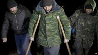 Ukrainian prisoners march to the prisoner exchange - 21 February