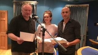 Bjarne Henriksen, Vanessa Kirby and Mark Strong during the recording of Victory