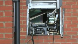 Destroyed cash machine