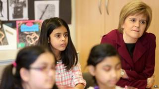 Nicola Sturgeon in a lesson at a London school