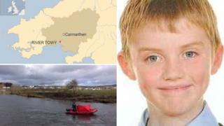 Composite image showing Cameron Comey, map of Carmarthen, and river search