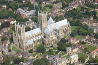 An aerial view of Lincoln Cathedral