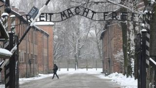 Entrance to the former Nazi Death Camp complex of Auschwitz on 26 January 2015