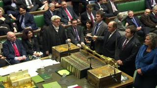 The result of the vote is announced in the Commons
