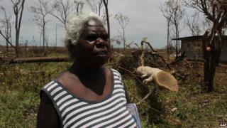 Jane Garrutju, chair person of the Marthakal Homelands Resource Centre, surveys the destruction wrought by Tropical Cyclone Lam in Galiwinku on Elcho Island on Sunday, 22 February 2015.