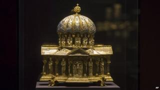 The medieval antique Dome Reliquary (13th century) of the Welfenschatz, is displayed at the Bode Museum in Berlin 9th January 2014