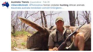 Screen grab from Twitter about the Glenn McGrath hunting photos
