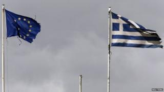 EU and Greek flags flutter on top of the Greek finance ministry (24 Feb)