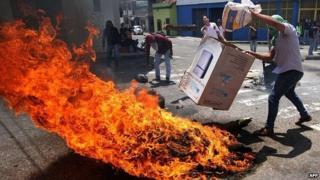 Protest in San Cristobal, Venezuela
