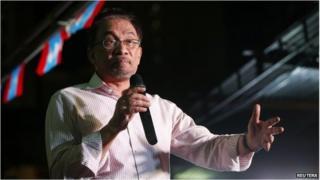 Anwar Ibrahim at a rally in Kuala Lumpur (9 Feb 2015)