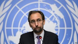 New High Commissioner of the United Nations (UN) for Human Rights, Zeid Ra'ad al-Hussein of Jordan (C) attends a press conference on October 16, 2014 in Geneva