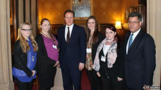 Emma Fidler, Tracey Fidler, Hayley Lindsay and Amy Parks meet the Prime Minister with MP Alok Sharma