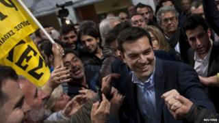 Alexis Tsipras, and supporters on 20 January 2015