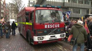 Fire engine at FBU rally at Westminister