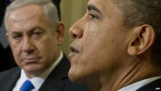 US President Barack Obama and Israeli Prime Minister Benjamin Netanyahu (L) during a meeting in the Oval Office of the White House in Washington, DC, March 5, 2012