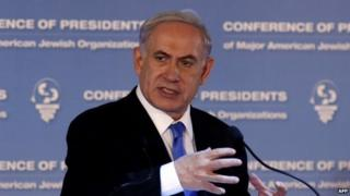 Israeli Prime Minister Benjamin Netanyahu on 16 February 2015
