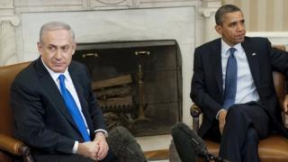 US President Barack Obama and Israeli Prime Minister Benjamin Netanyahu in the Oval Office of the White House