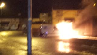 NIE van on fire