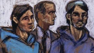 A courtroom sketch shows Akhror Saidakhmetov (L), 19, of Kazakhstan and Abdurasul Hasanovich Juraboev (R), 24, of Uzbekistan, and court interpreter Akhror Saidakmetov (C) appear in Federal District Courthouse were three men who arrested for allegedly providing material support to the group ISIS were arraigned in Brooklyn, New York on 25 February.