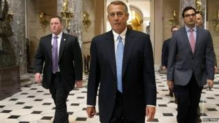 US House Speaker John Boehner returns to his office after the bill was rejected - 27 February 2015