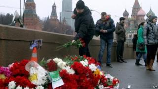 Flowers left at the site of Boris Nemtsov's killing, Moscow, 28 Feb 2015