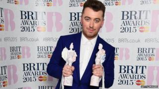Sam Smith with his Brit Awards