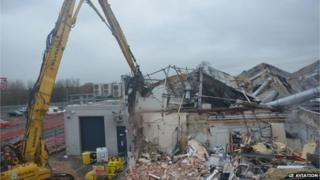 Demolition at Dowty's in Staverton