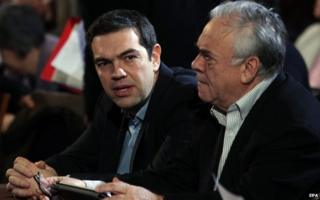 Prime Minister Alexis Tsipras (left) and Vice President Giannis Dragasakis attend a meeting of Syriza's party central committee in Athens, Greece, 28 February 2015