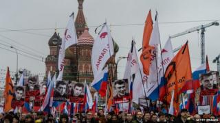 People march in memory of Russian opposition leader and former Deputy Prime Minister Boris Nemtsov on 1 March, 2015 in central Moscow