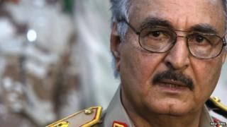 General Khalifa Haftar speaks during a news conference at a sports club in Abyar, east of Benghazi 21 May 2014