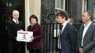 Relatives of Alan Turing present a petition to No 10 calling for pardons for men convicted under historic indecency laws