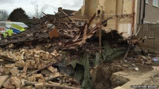 Collapsed house in Romford