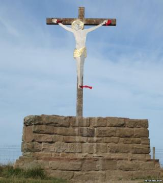 Crucifix on Workington slag banks