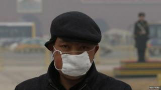 Man wearing a mask in Tiananmen