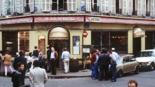 File picture dated 11 August 1982 shows people standing in front of the Jo Goldenberg restaurant in Rue des Rosiers in Paris, two days after it was devastated by an attack