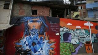 Graffiti on a wall at Cerro Cora in Rio de Janeiro