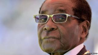 Zimbabwean President Robert Mugabe attending his inauguration and swearing-in ceremony at the 60,000-seater sports stadium in Harare 22 August 2013