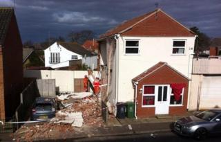 Scene of house explosion on Fredrick Road, Gorleston