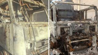 Burned lorries