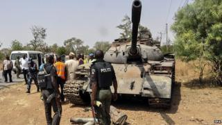 Tank used by Boko Haram captured by Nigerian troops at Uba. 1 March 2015