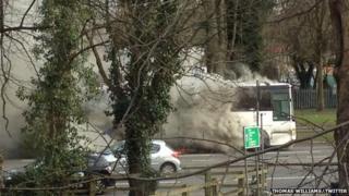 Bus fire on Western Avenue