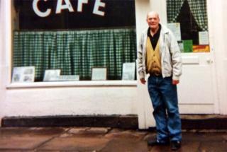 David Daniels standing outside a Norwich cafe