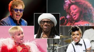 Elton John, Miley Cyrus, Nile Rodgers, Chaka Khan and Janelle Monae