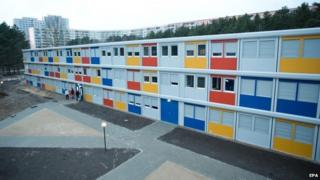 A view of the living container village for refugees during an Open Door Day in the district of Koepenick in Berlin