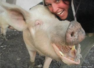 Federica and pig