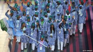 Sierra Leone team at Glasgow 2014 opening ceremony