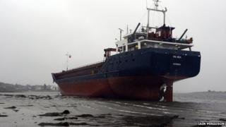 Grounded ship